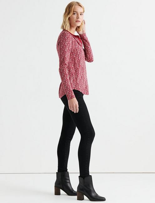 PRINTED SEAMED HENLEY, RED MULTI