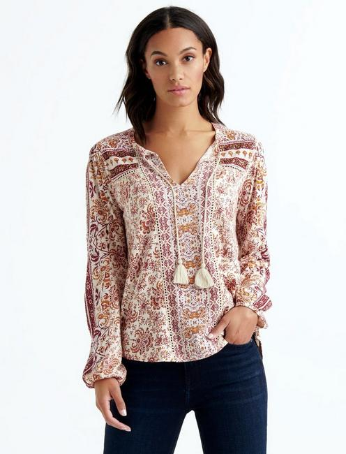 Lucky Brand Womens Plus Size Printed Peasant Top with Beads