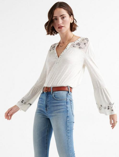 EMBROIDERED YOKE TOP,
