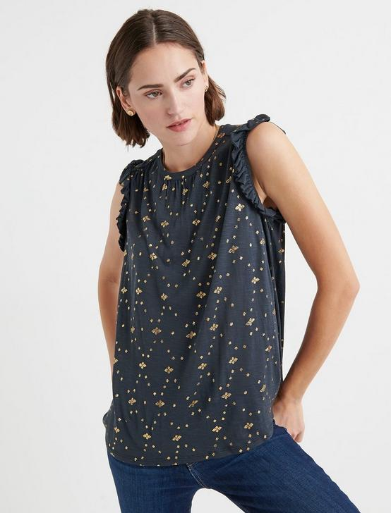 METALLIC PEASANT PRINT TOP, BLACK/GOLD, productTileDesktop