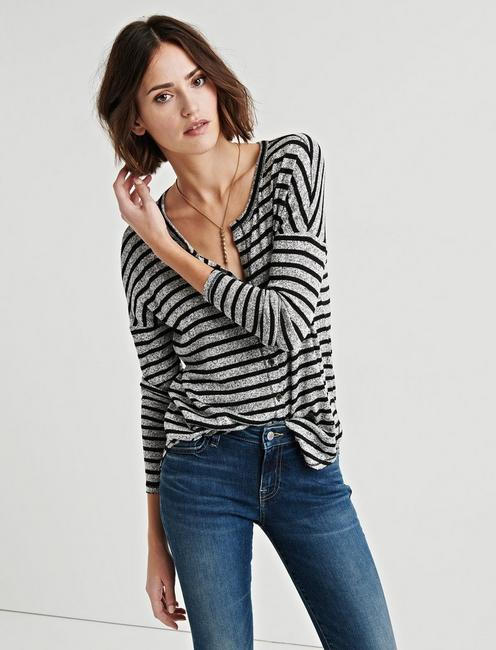 Lucky Stripe Oversized Button Through Tee