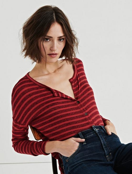 Stripe Oversized Button Through Tee, RED STRIPE, productTileDesktop