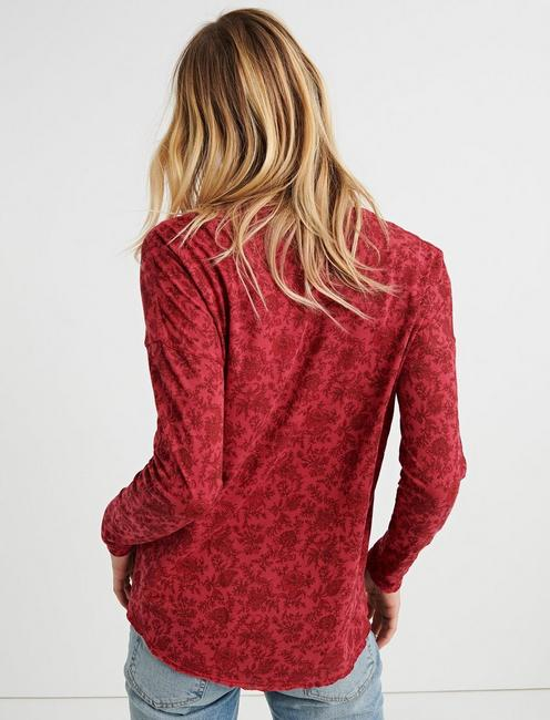 WASHED WESTERN HENLEY, RED MULTI
