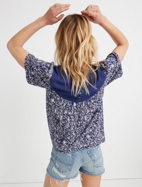 WOVEN MIX EMBROIDERED PEASANT, BLUE MULTI