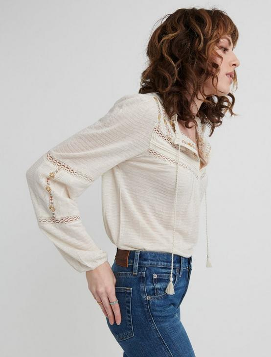 EMBROIDERED PEASANT TOP, , productTileDesktop