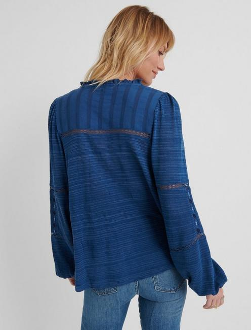 EMBROIDERED PEASANT TOP, BLUE