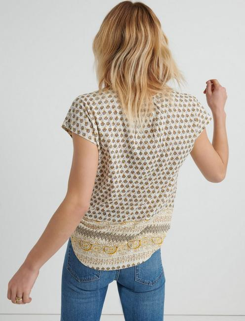 BORDER PRINT SLEEVLESS TOP, YELLOW MULTI