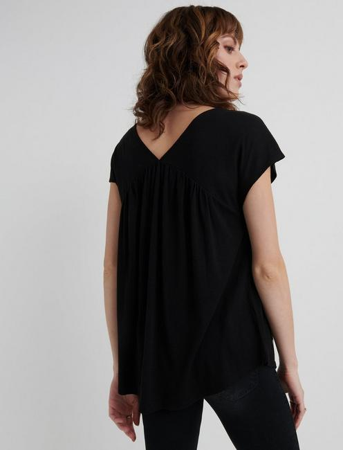 EMBROIDERED TOP, 001 LUCKY BLACK