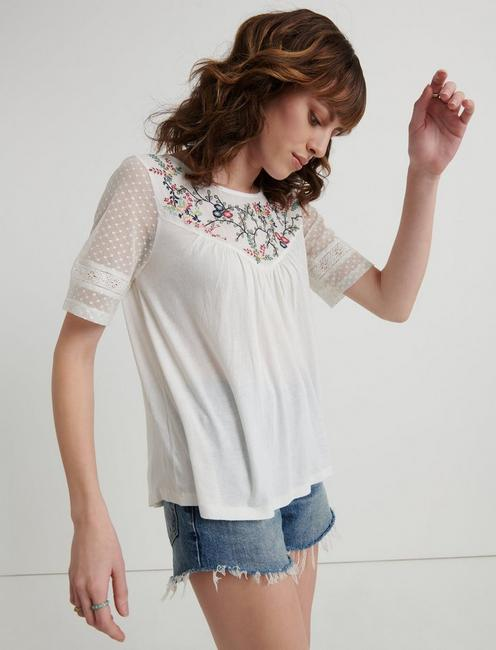 EMBROIDERED YOKE TOP, LUCKY WHITE