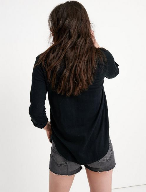 WOVEN GAUZE MIX BUTTON DOWN, WASHED BLACK