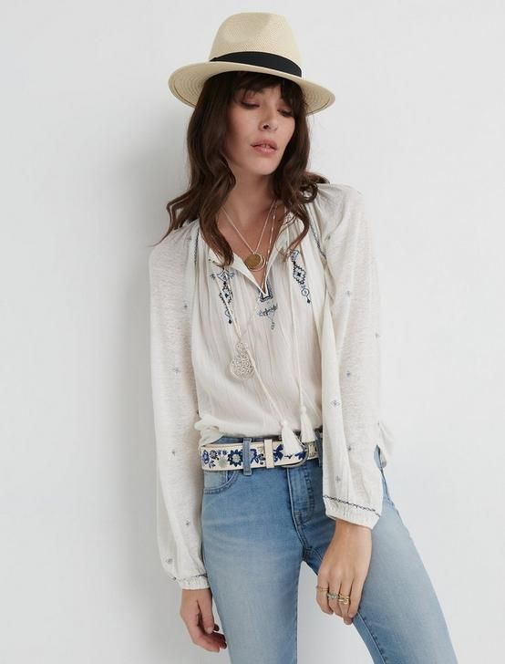 EMBROIDERED KNIT PEASANT TOP, BLUE MULTI, productTileDesktop