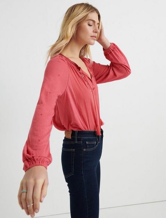 EMBROIDERED KNIT PEASANT TOP, RED, productTileDesktop