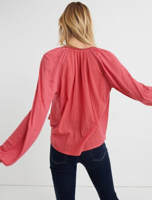 EMBROIDERED KNIT PEASANT TOP, RED
