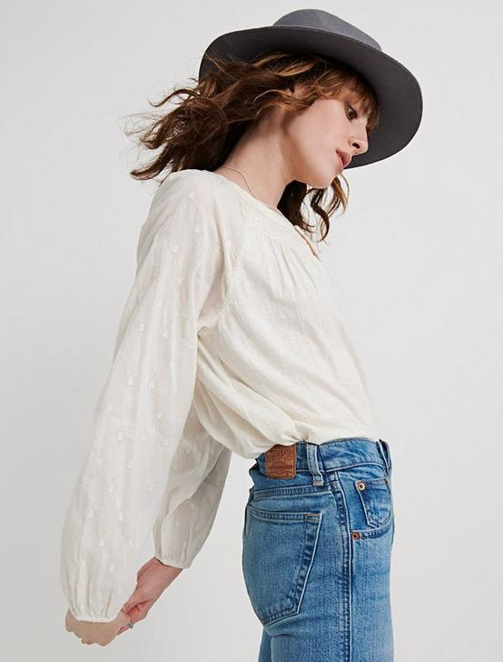 EMBROIDERED PEASANT TOP, MARSHMALLOW, productTileDesktop