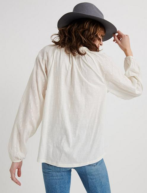 EMBROIDERED PEASANT TOP, MARSHMALLOW