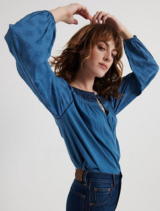 EMBROIDERED PEASANT TOP, BLUE, productTileDesktop