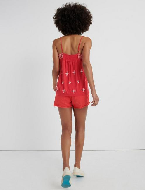 EMBROIDERED SWING CAMISOLE, SCARLET