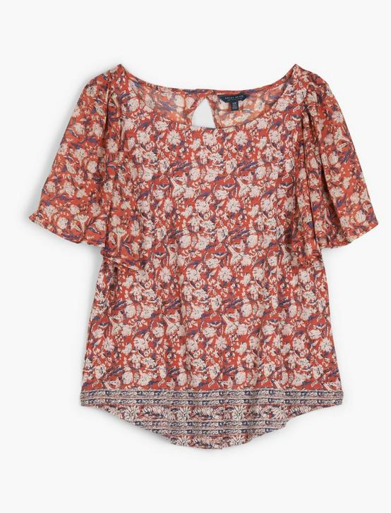 WOVEN MIX PRINT TOP, RED MULTI, productTileDesktop