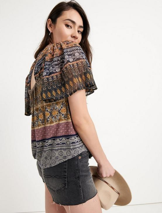 PRINTED WOVEN MIX TOP, GOLD MULTI, productTileDesktop