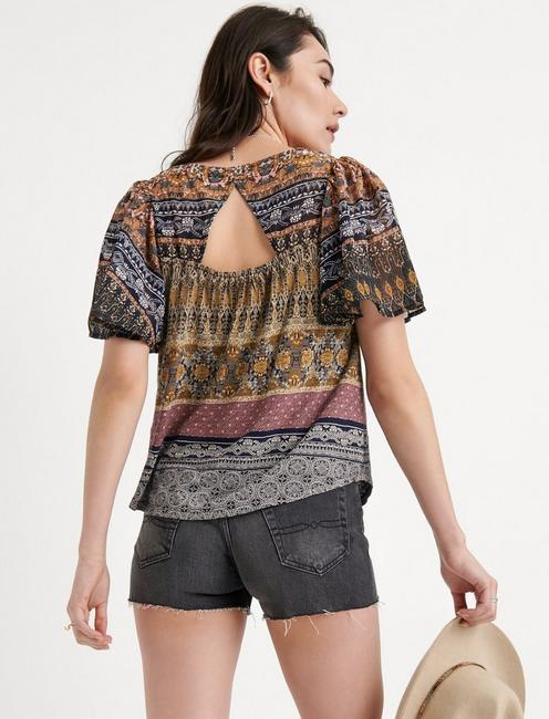 PRINTED WOVEN MIX TOP, GOLD MULTI