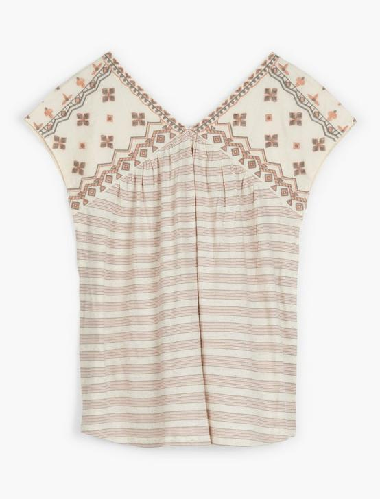 NOVELTY STRIPED TOP, CREAM MULTI, productTileDesktop