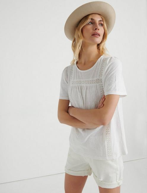EMBROIDERED CROCHET PEASANT TOP, LUCKY WHITE