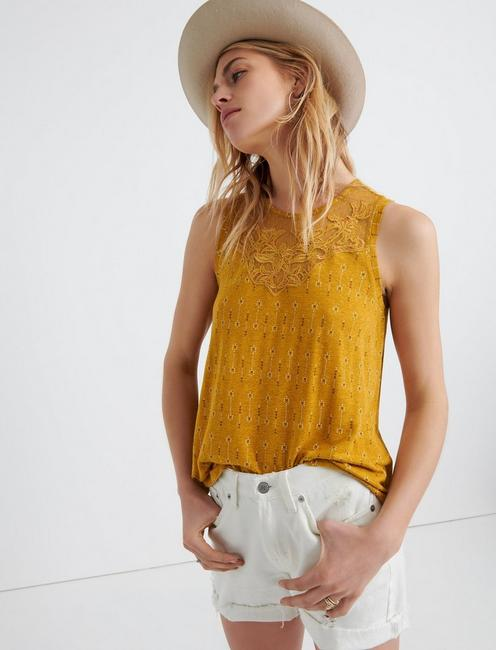 APPLIQUE YOKE TANK, MUSTARD MULTI
