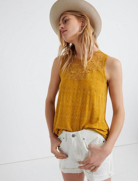 APPLIQUE YOKE TANK, MUSTARD MULTI, productTileDesktop