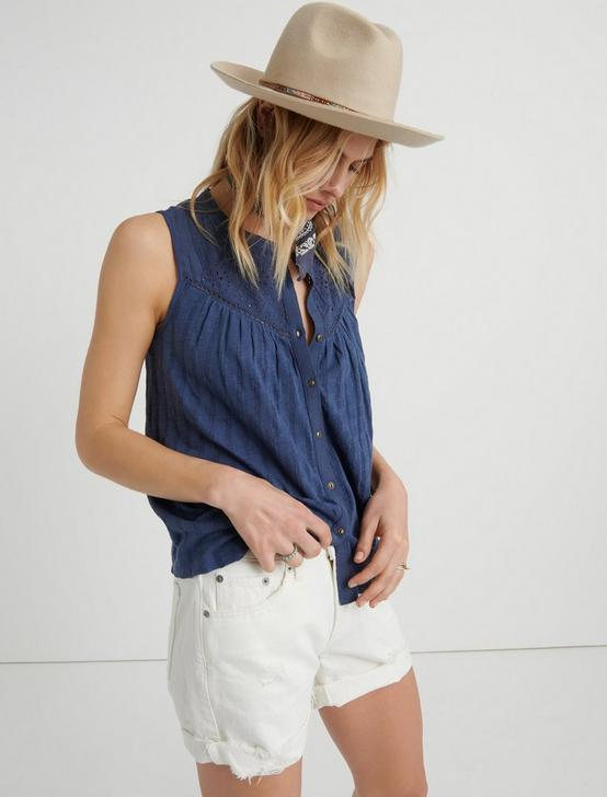 EYELET YOKE TANK, NAVY, productTileDesktop