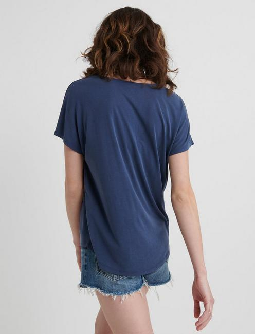 SANDWASH V-NECK TOP, NAVY