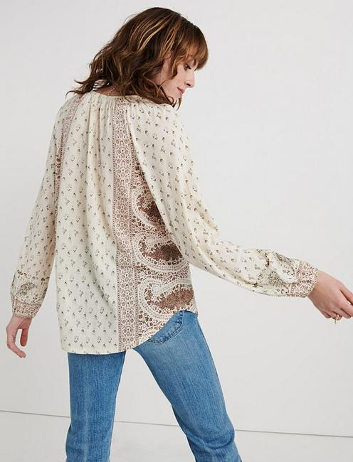 Paisley Print Peasant Top, BIRCH MULTI