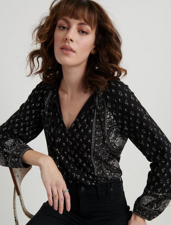 Paisley Print Peasant Top, BLACK MULTI, productTileDesktop