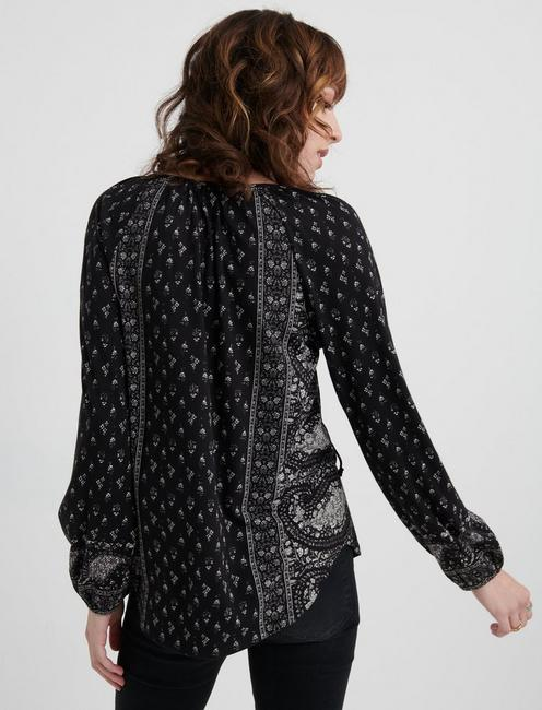 Paisley Print Peasant Top, BLACK MULTI