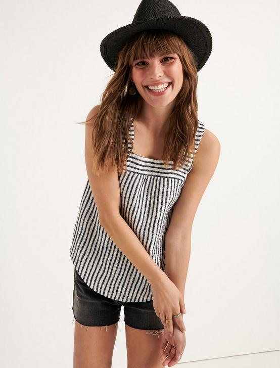 SQUARE NECK TANK TOP, NAVY STRIPE, productTileDesktop