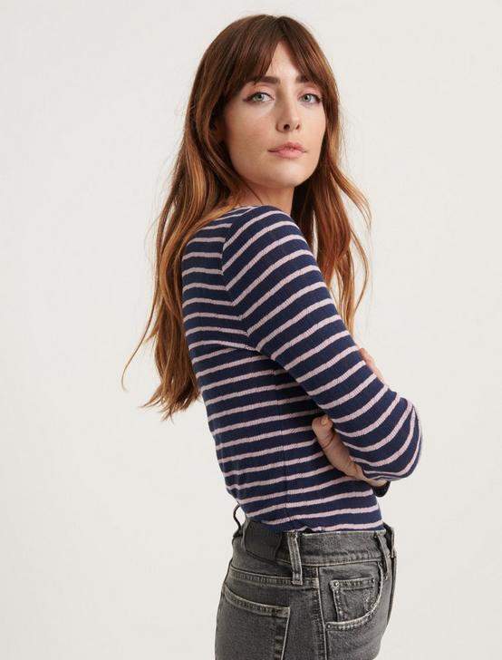 3/4 SLEEVE HENLEY TOP, NAVY STRIPE, productTileDesktop