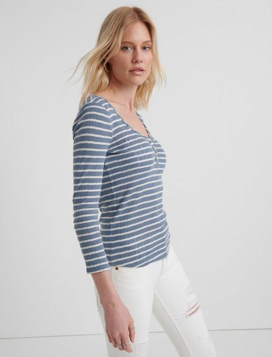 3/4 SLEEVE HENLEY TOP, BLUE STRIPE, productTileDesktop