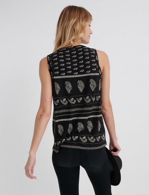 PRINTED SHELL WITH EMBROIDERY, BLACK MULTI