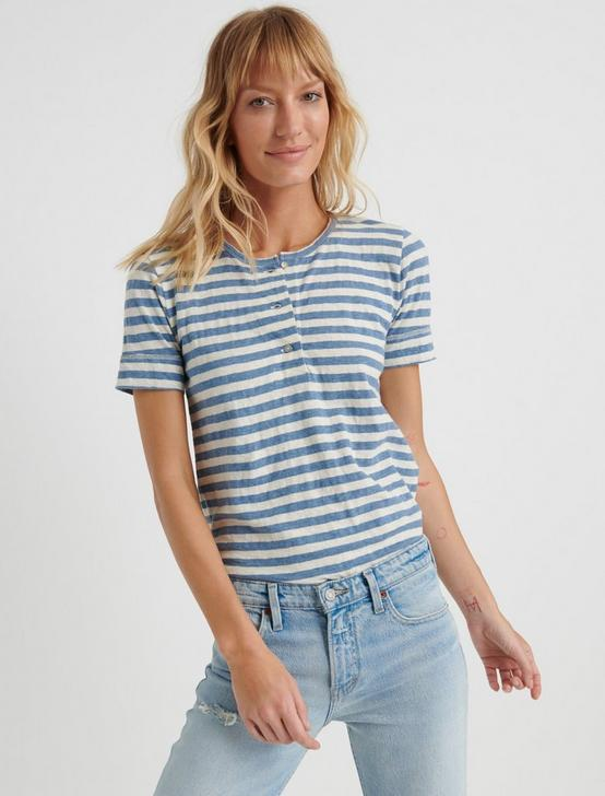 SHORT SLEEVE HENLEY, BLUE STRIPE, productTileDesktop