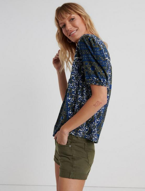 PRINTED SHORT SLEEVE PEASANT TOP, BLUE MULTI, productTileDesktop