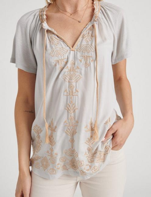 EMBROIDERED PEASANT TOP, ICE BLUE