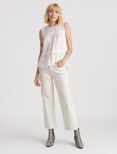 SLEEVELESS KNIT WOVEN MIX BLOUSE, LUCKY WHITE