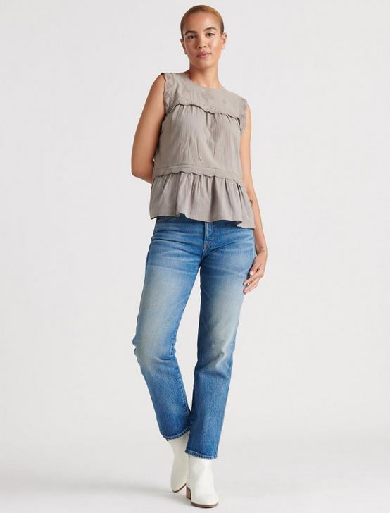 SLEEVELESS KNIT WOVEN MIX BLOUSE, DRIFTWOOD, productTileDesktop