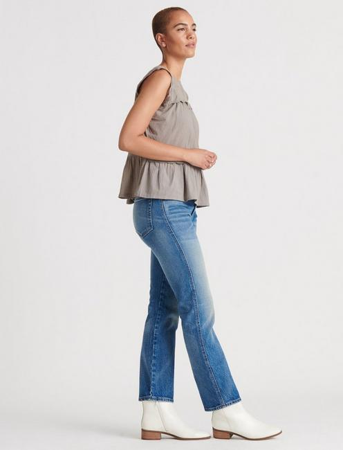 SLEEVELESS KNIT WOVEN MIX BLOUSE, DRIFTWOOD