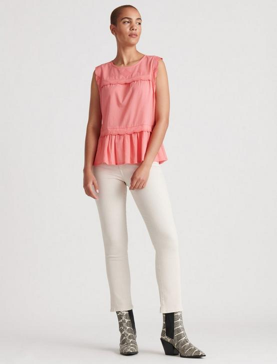 SLEEVELESS KNIT WOVEN MIX BLOUSE, TEA ROSE, productTileDesktop