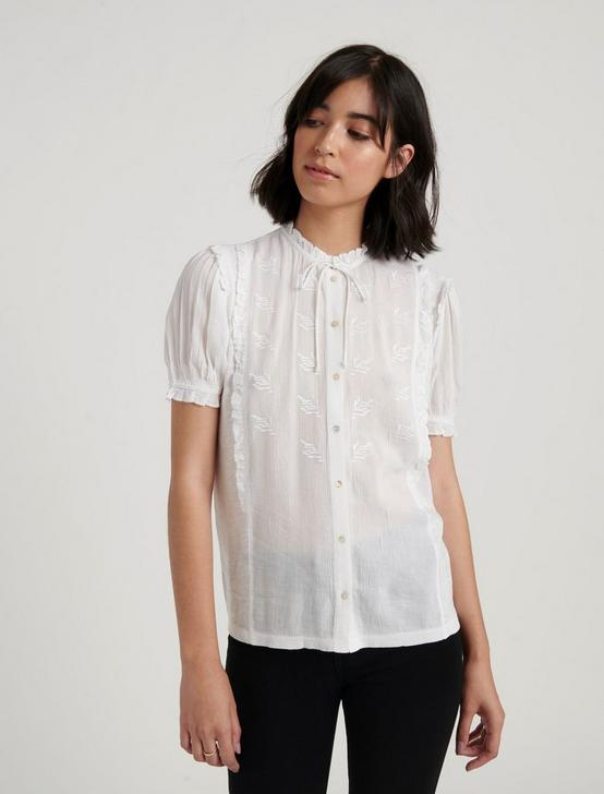 SHORT SLEEVE RUFFLE BUTTON DOWN, BRIGHT WHITE, productTileDesktop