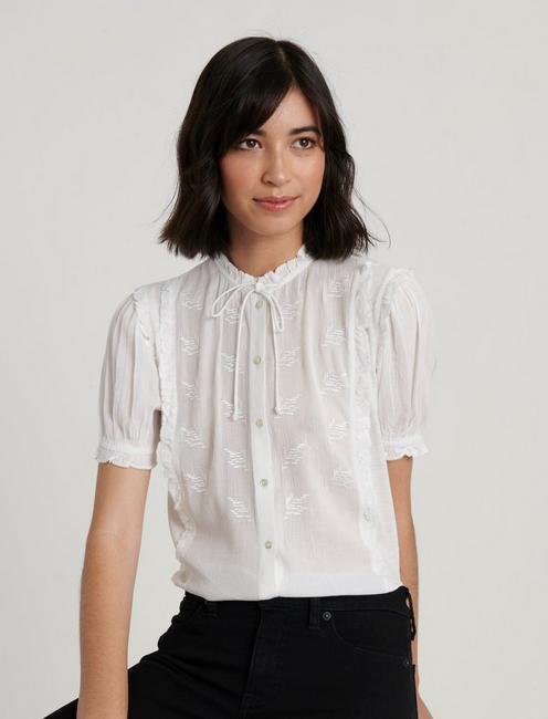 SHORT SLEEVE RUFFLE BUTTON DOWN, BRIGHT WHITE
