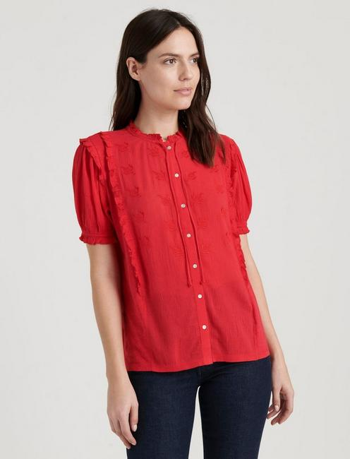 SHORT SLEEVE RUFFLE BUTTON DOWN, TRUE RED