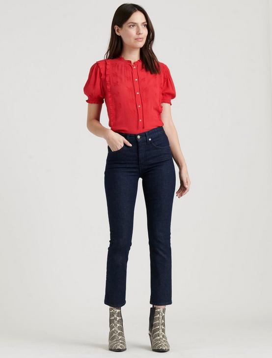 SHORT SLEEVE RUFFLE BUTTON DOWN, TRUE RED, productTileDesktop