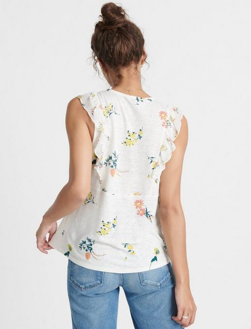 FLUTTER SLEEVE WOVEN KNIT MIX TOP, WHITE MULTI