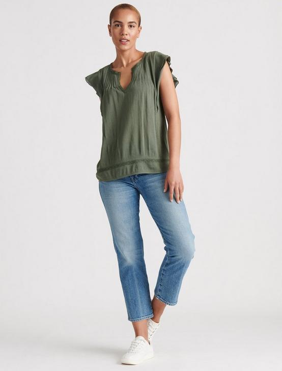 RUFFLE NOTCH NECK TOP, THYME, productTileDesktop